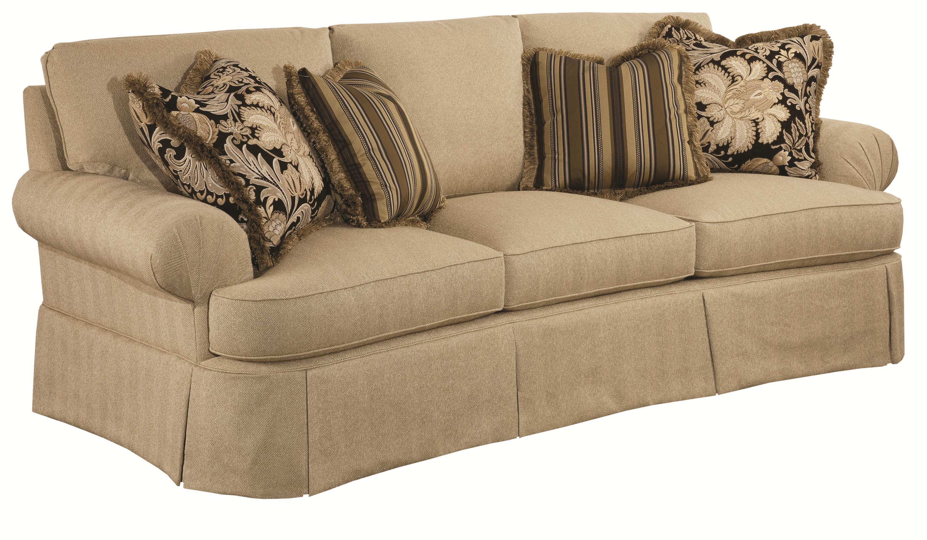 Traditional Conversation Sofa With Waterfall Skirts And Fan Pleated Arms By Kincaid Furniture