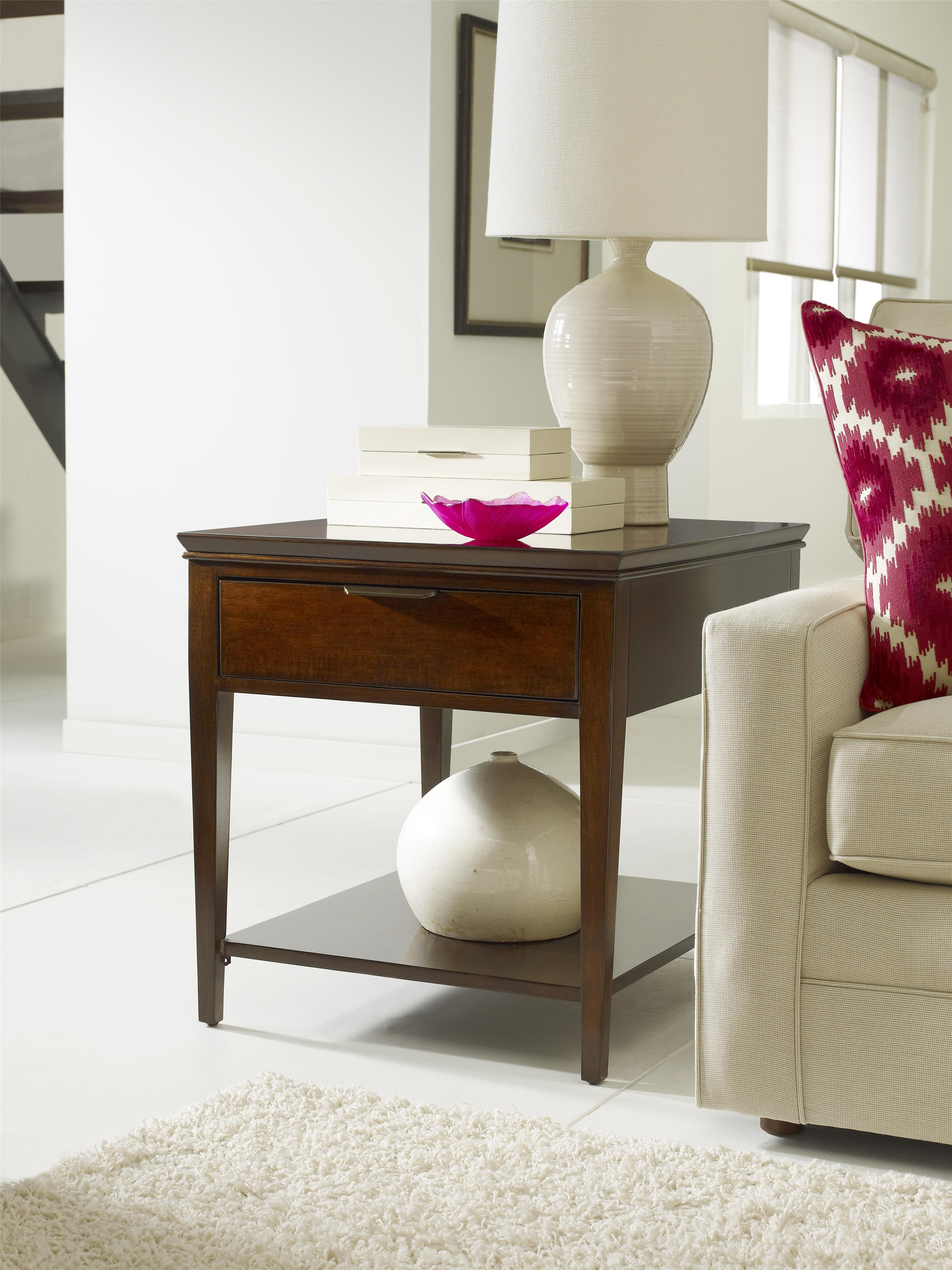 Transitional elise end table with one drawer by kincaid furniture transitional elise end table with one drawer geotapseo Choice Image