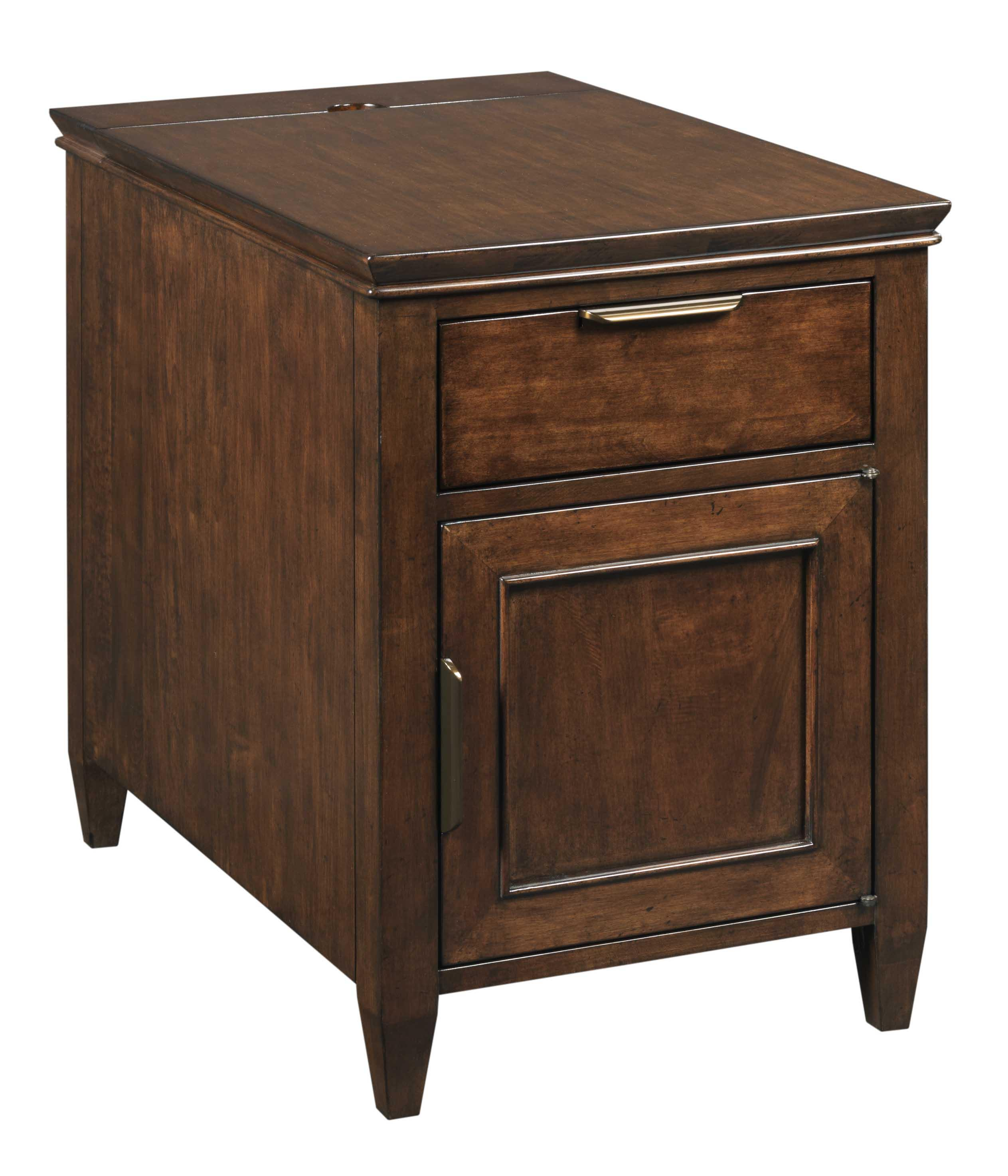Transitional Elise Chairside Chest With Electrical Outlets By Kincaid Furniture Wolf And