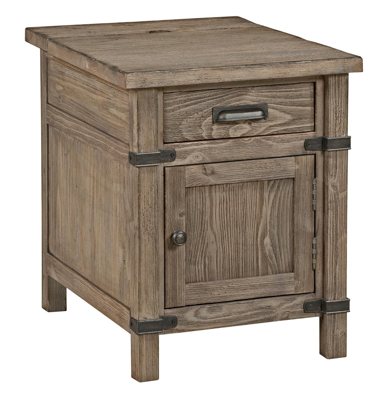 Rustic Weathered Gray Chairside Table With Power Outlet