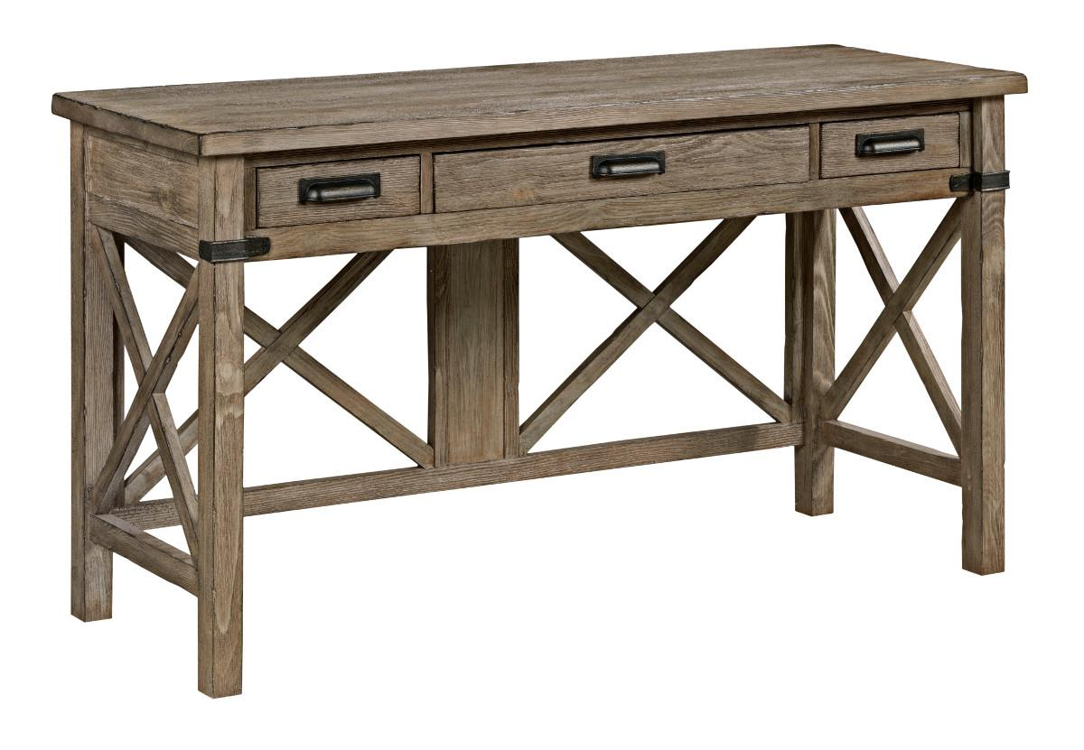 Rustic Weathered Gray Desk with Keyboard Drawer and Electrical ...