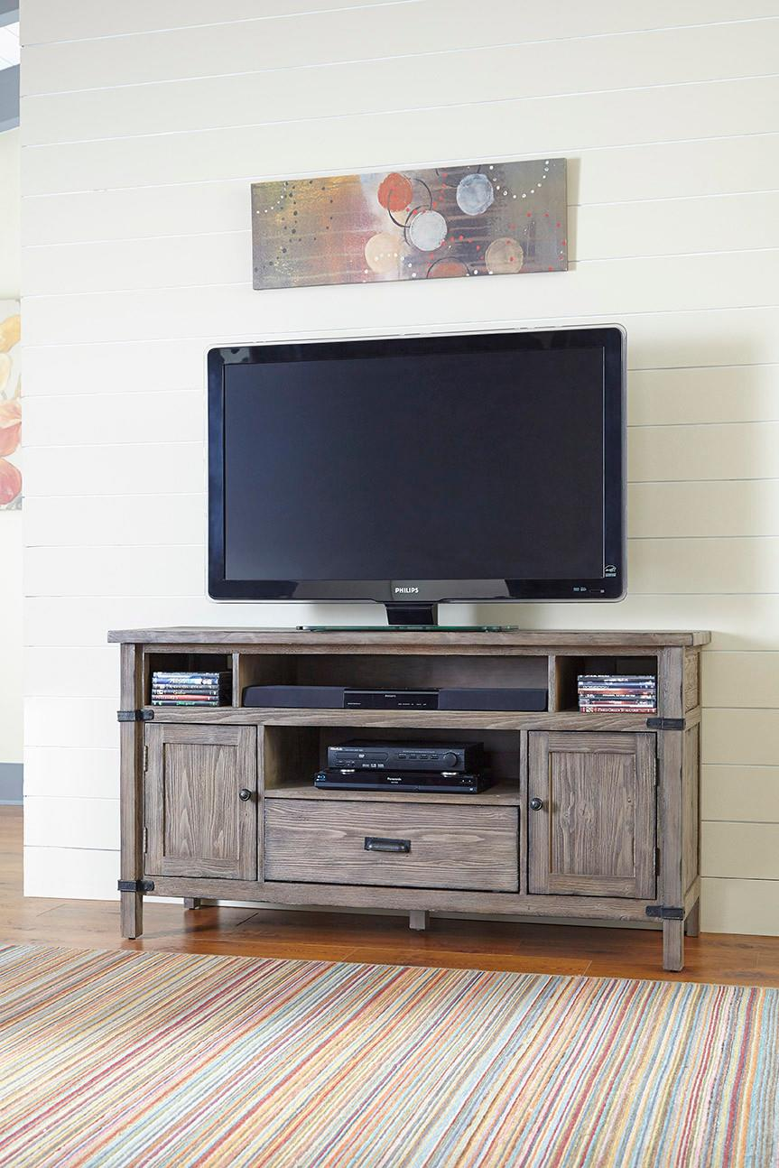 Rustic Weathered Gray Entertainment Console With Electrical Outlet