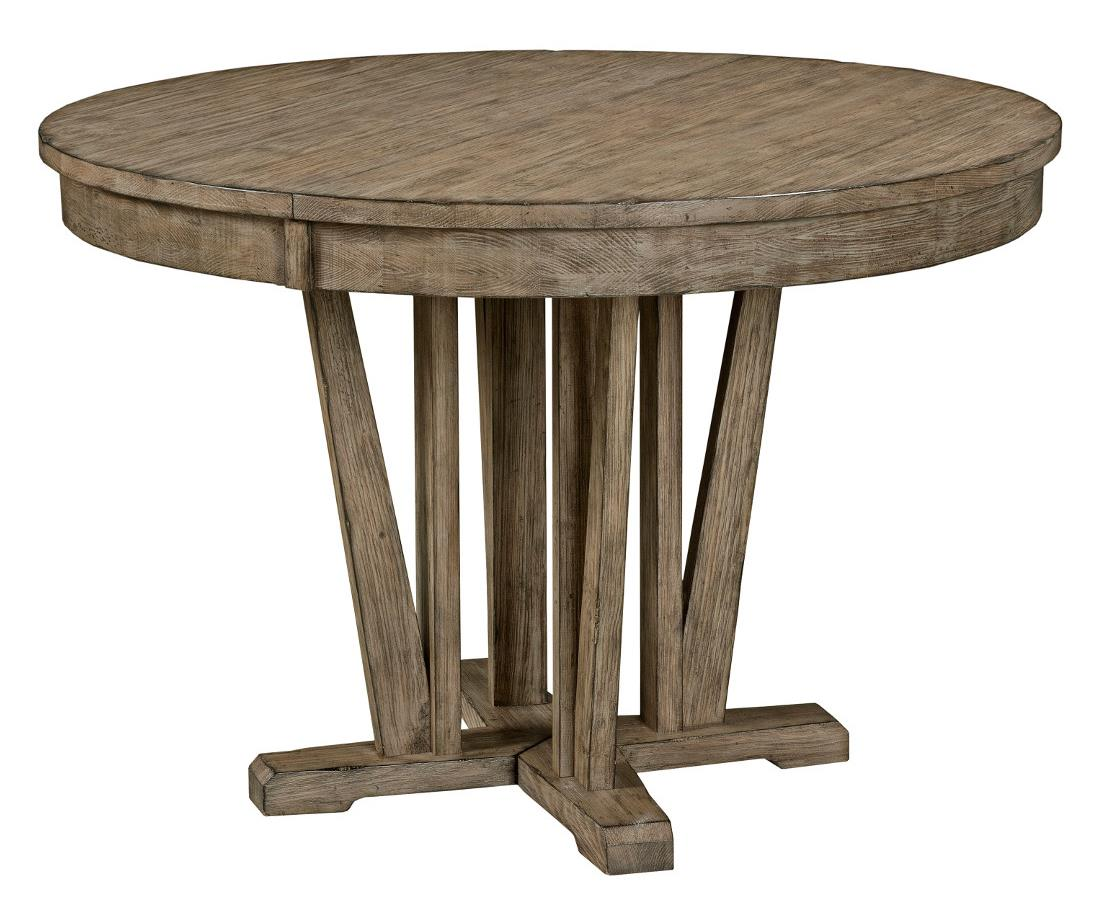 Rustic Round Weathered Gray Dining Table With Extension Leaf By - Round farm table with leaf