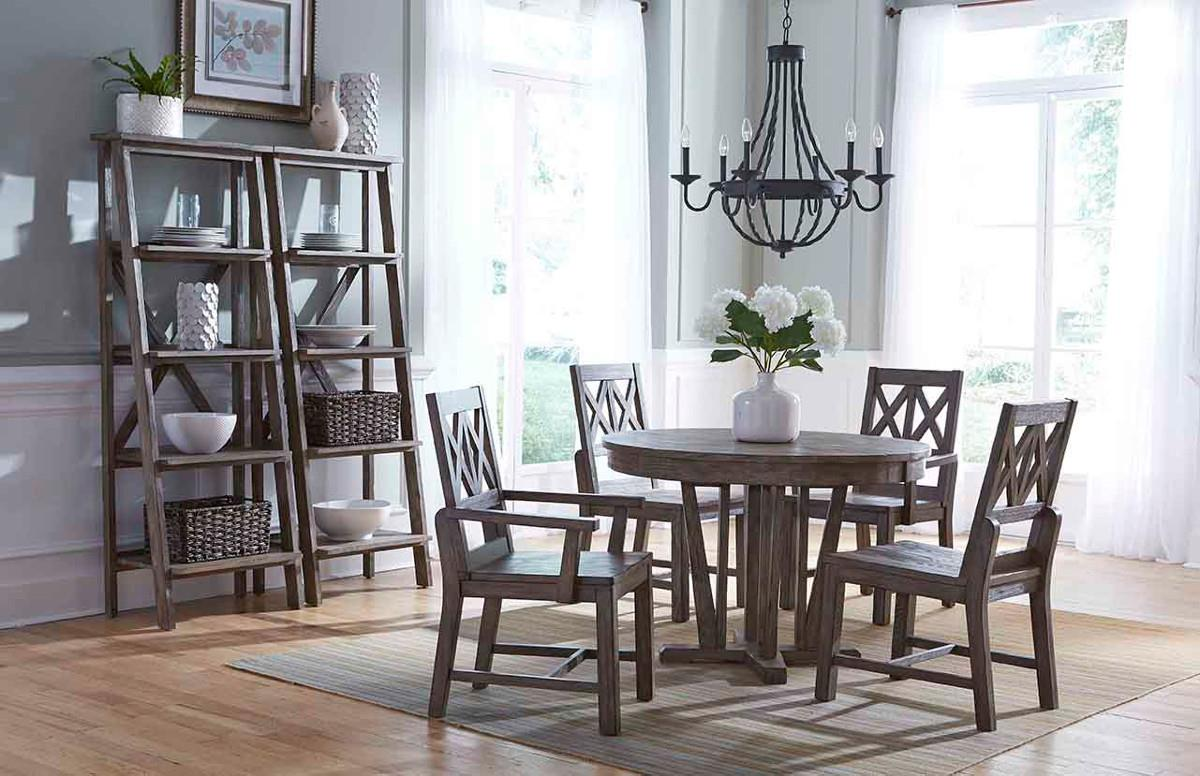 Rustic Round Weathered Gray Dining Table With Extension Leaf By Kincaid Furniture