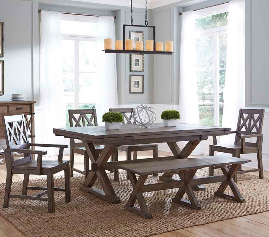 Charming Six Piece Rustic Dining Set With Bench