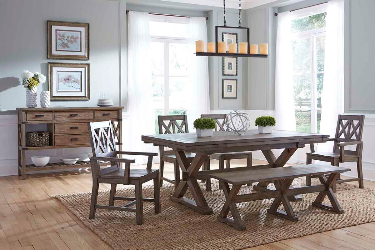 Six Piece Rustic Dining Set With Bench By Kincaid Furniture Wolf