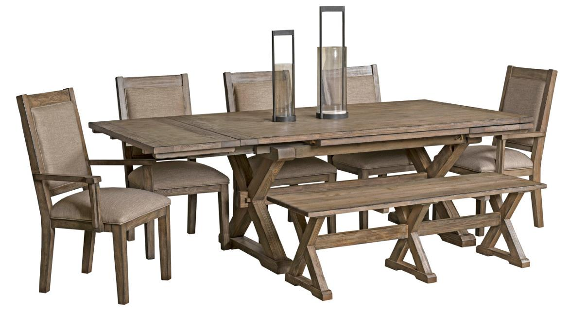 Ordinaire 7 Pc Dining Set With Bench