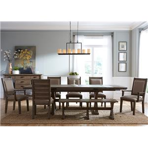 eight piece rustic dining set with bench