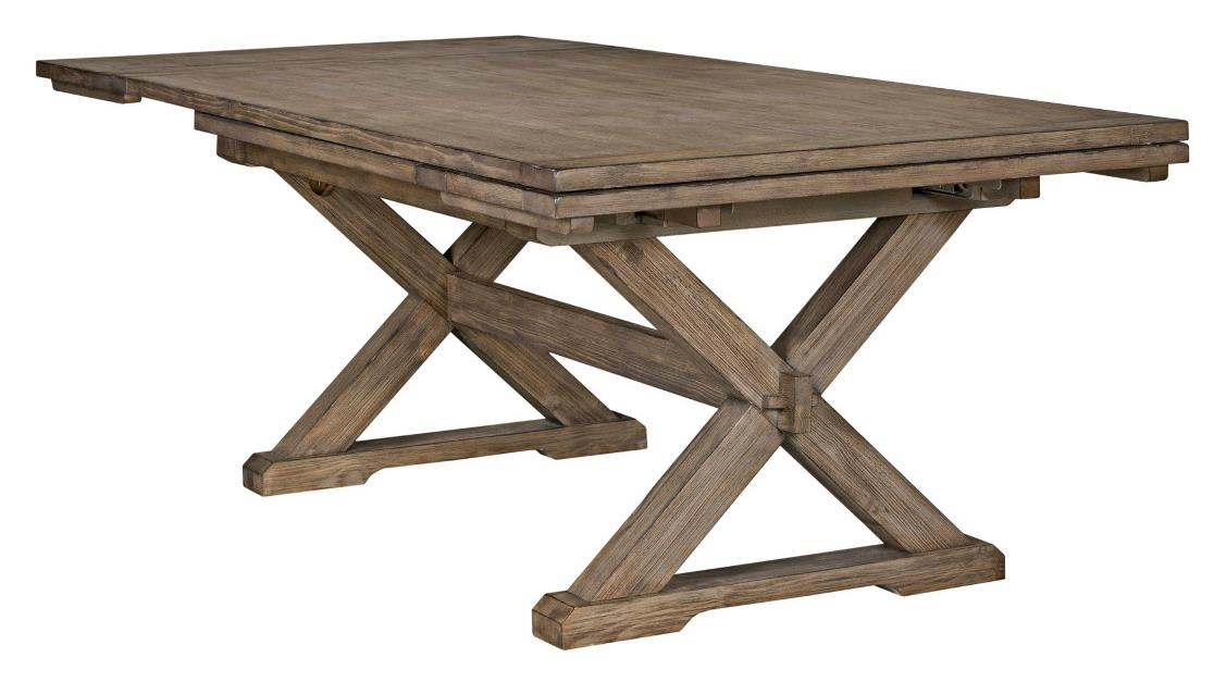 Rustic Weathered Gray Saw Buck Dining Table With Self Storing Refectory Leaves