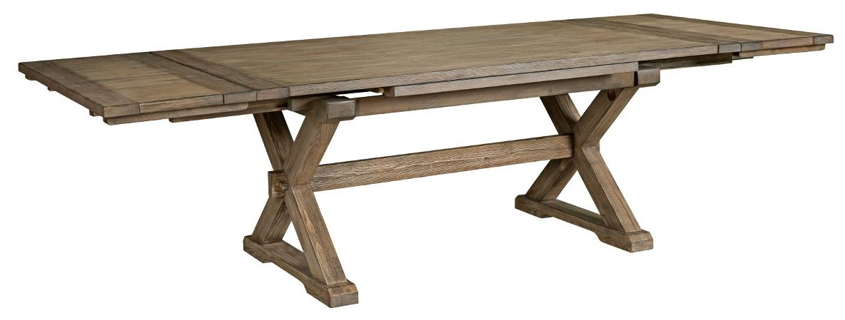 Dining Table With Self Storing Leaves Part - 17: Rustic Weathered Gray Saw Buck Dining Table With Self-Storing Refectory  Leaves