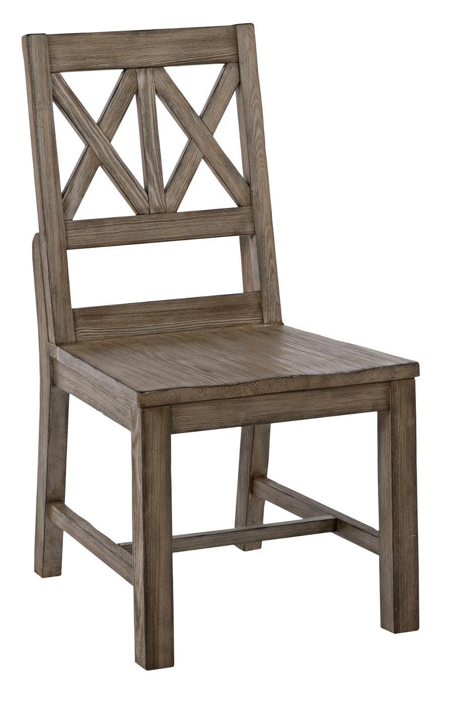 Rustic Solid Wood Side Chair With Weathered Gray Finish And X Lattice Back