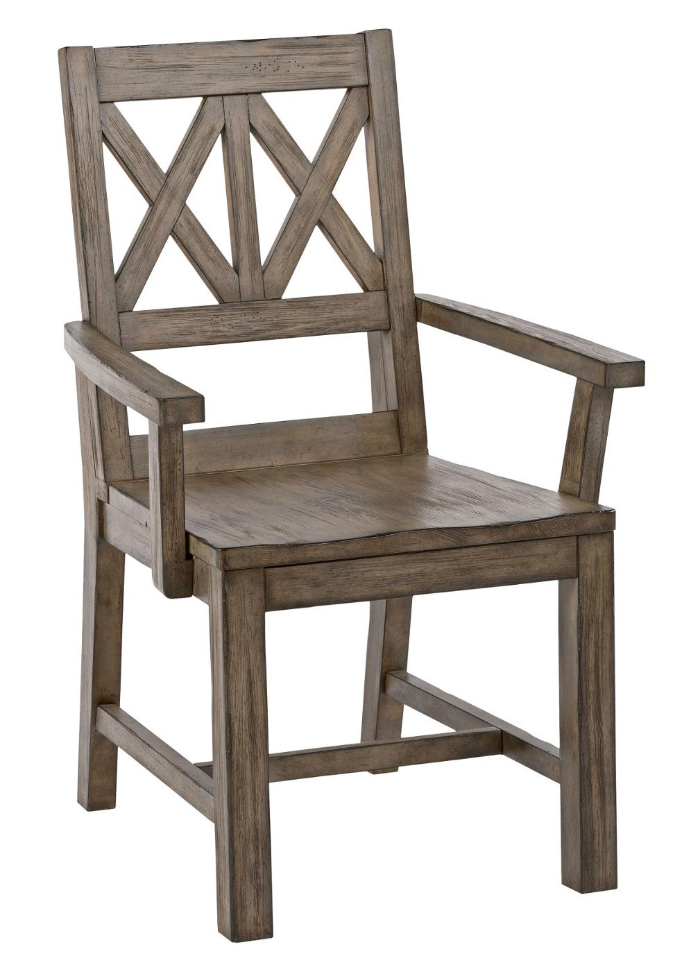 Rustic Solid Wood Arm Chair With Weathered Gray Finish And X Lattice