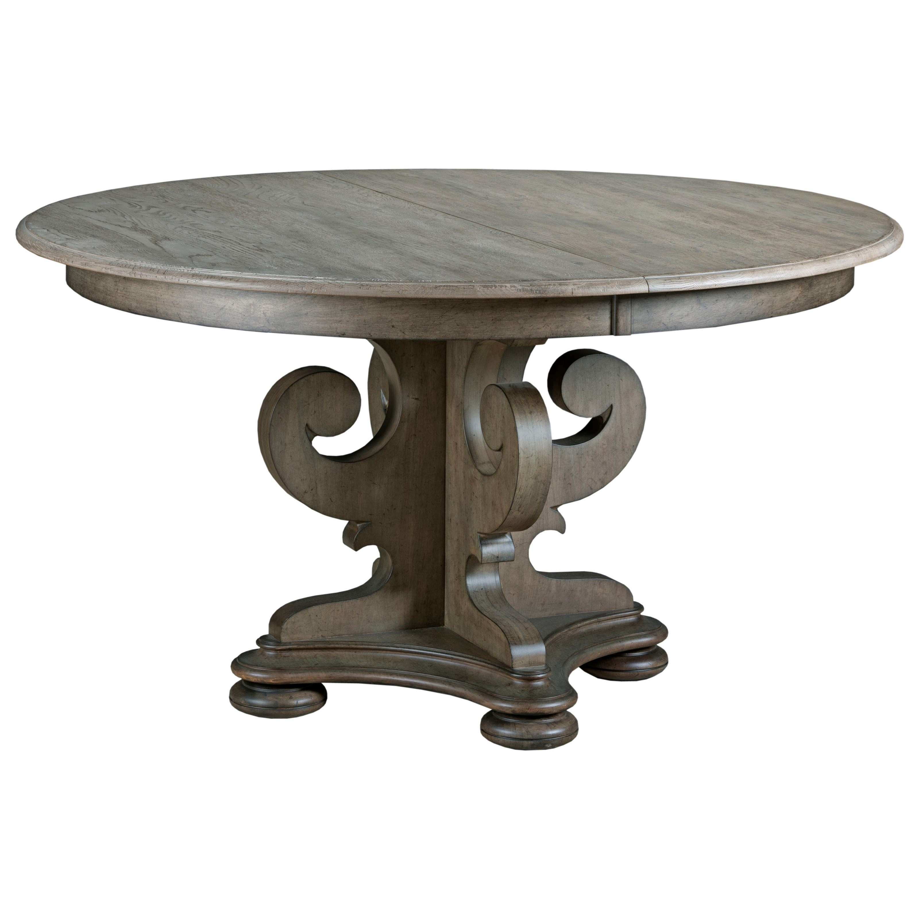 Round Pedestal Dining Table With Leaf grant scrolled pedestal round dining table with one extension leaf