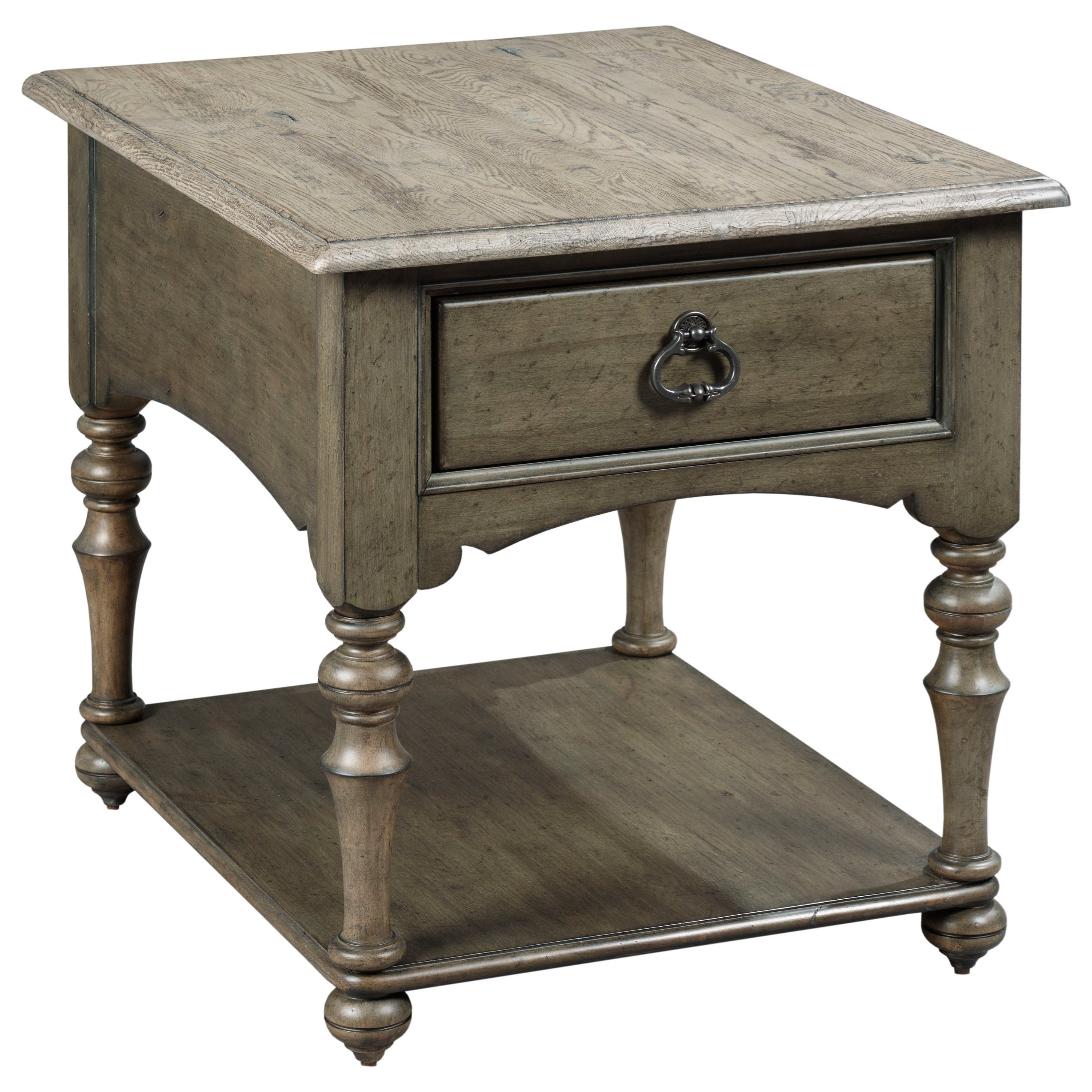 Winslow One Drawer End Table With Traditional Turned Legs