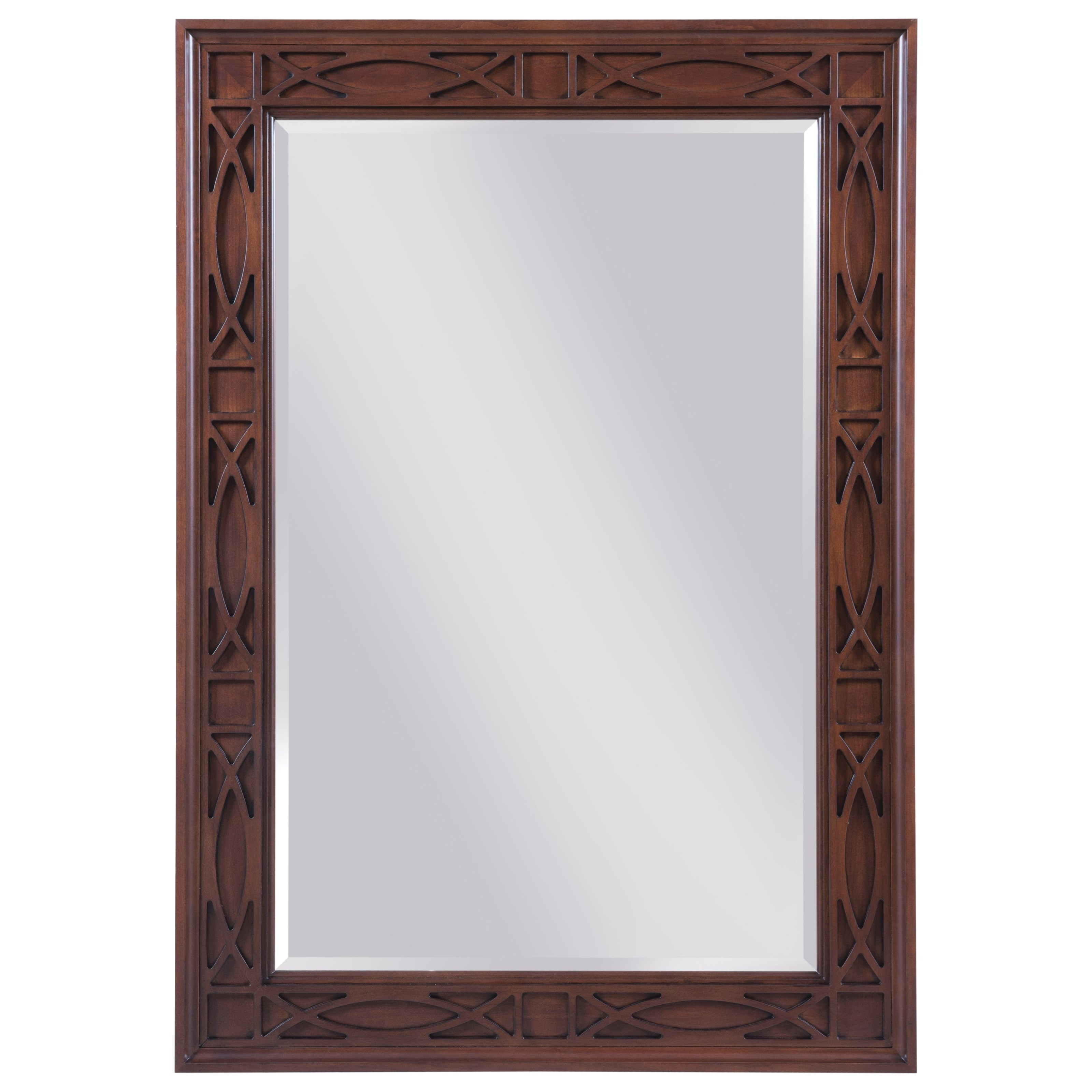 Traditional rectangular mirror with decorative relief carving by