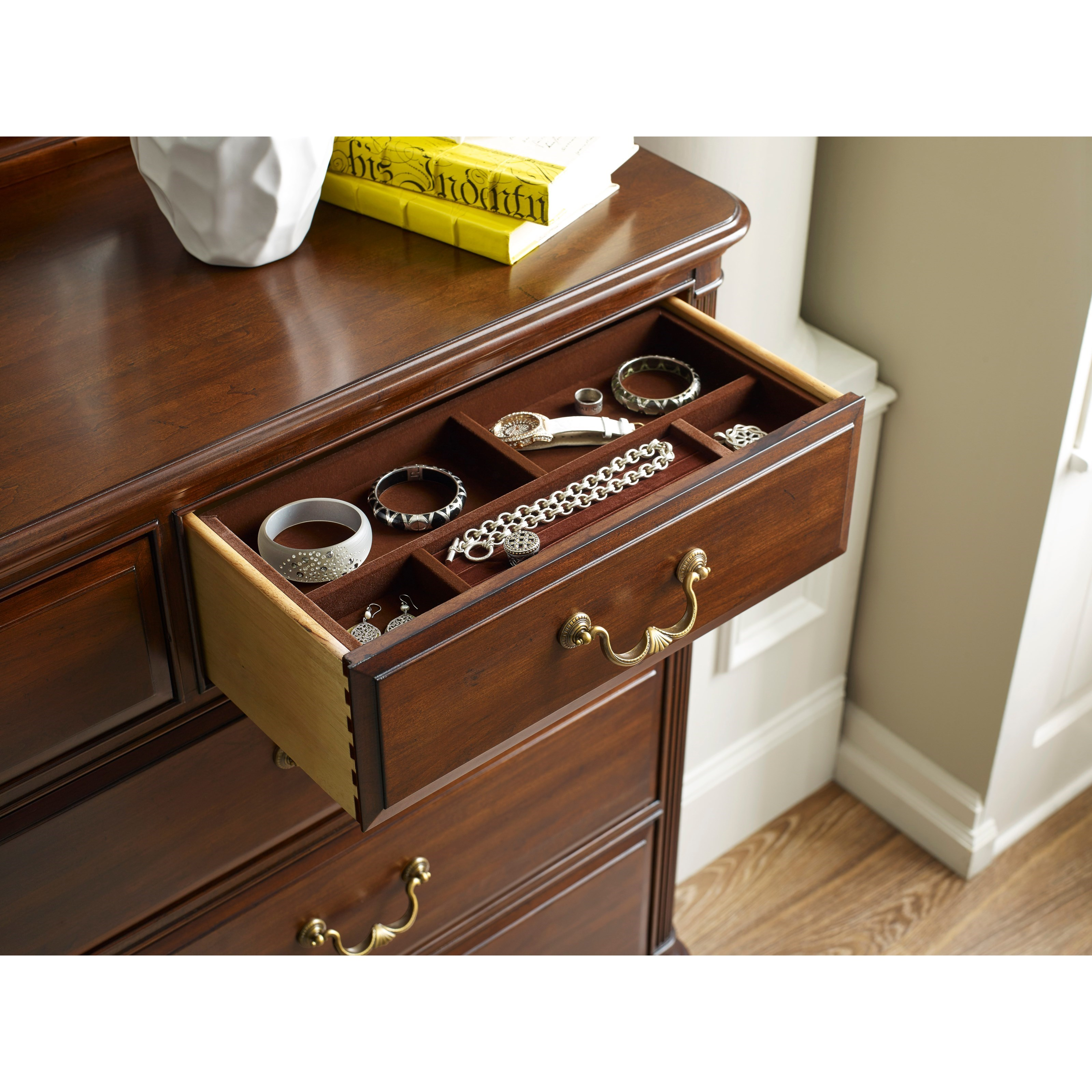 traditional nine drawer dresser with jewelry tray and flip