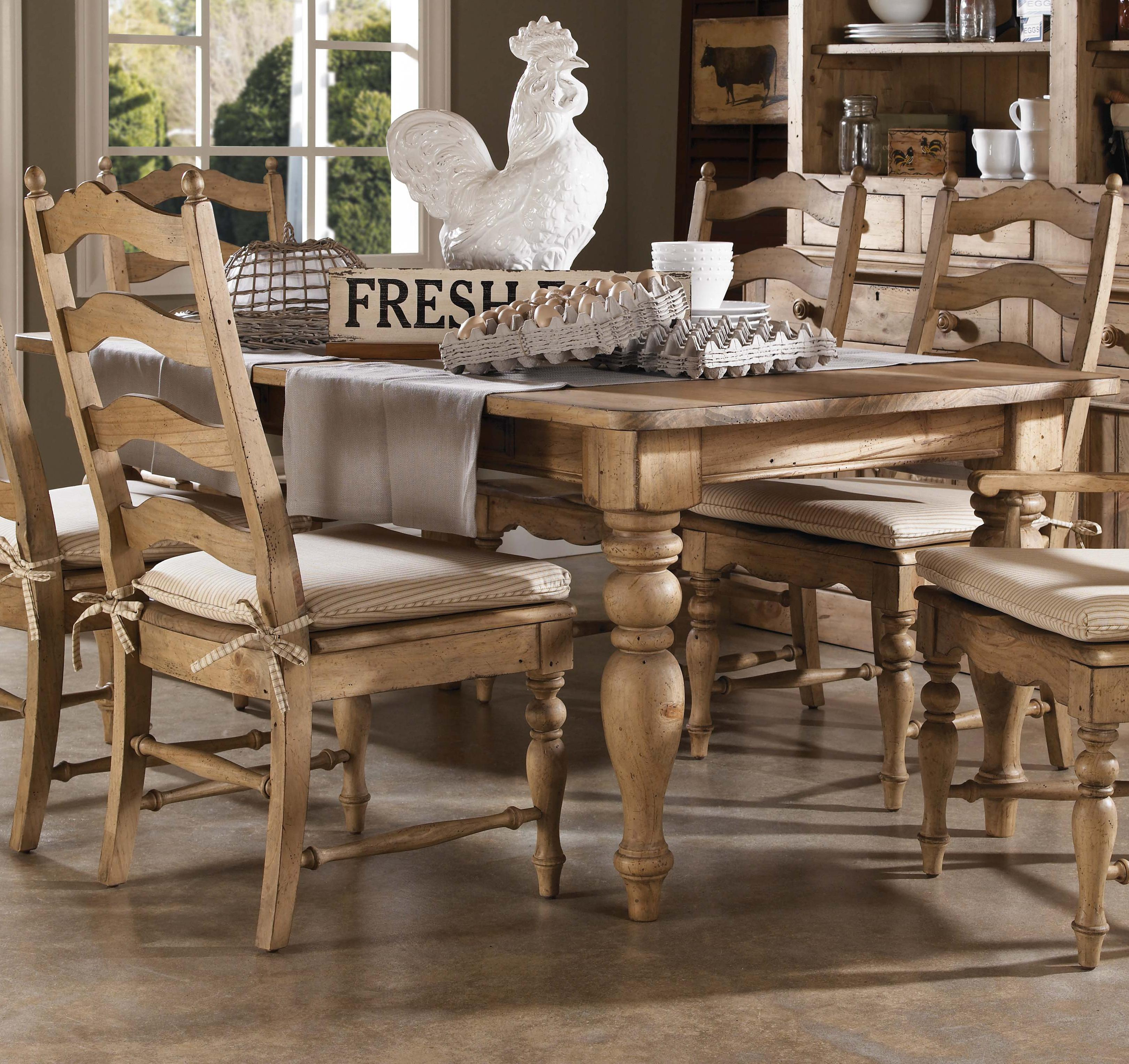 Kincaid Dining Room Furniture 7 Piece Dining Set With Farmhouse Leg Table And Ladderback