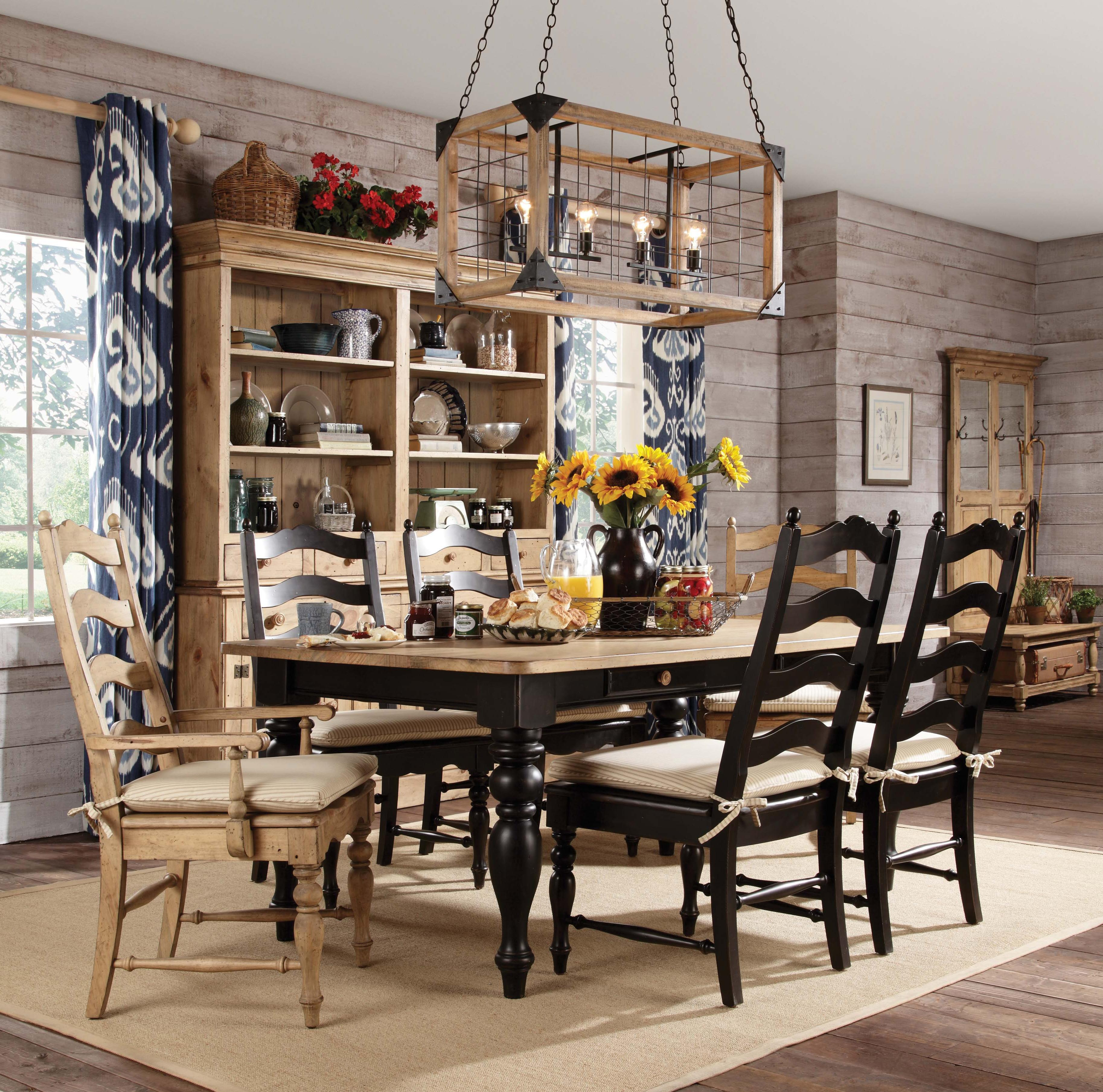 Black farmhouse chairs - 7 Piece Dining Set With Farmhouse Leg Table Ladderback Chairs