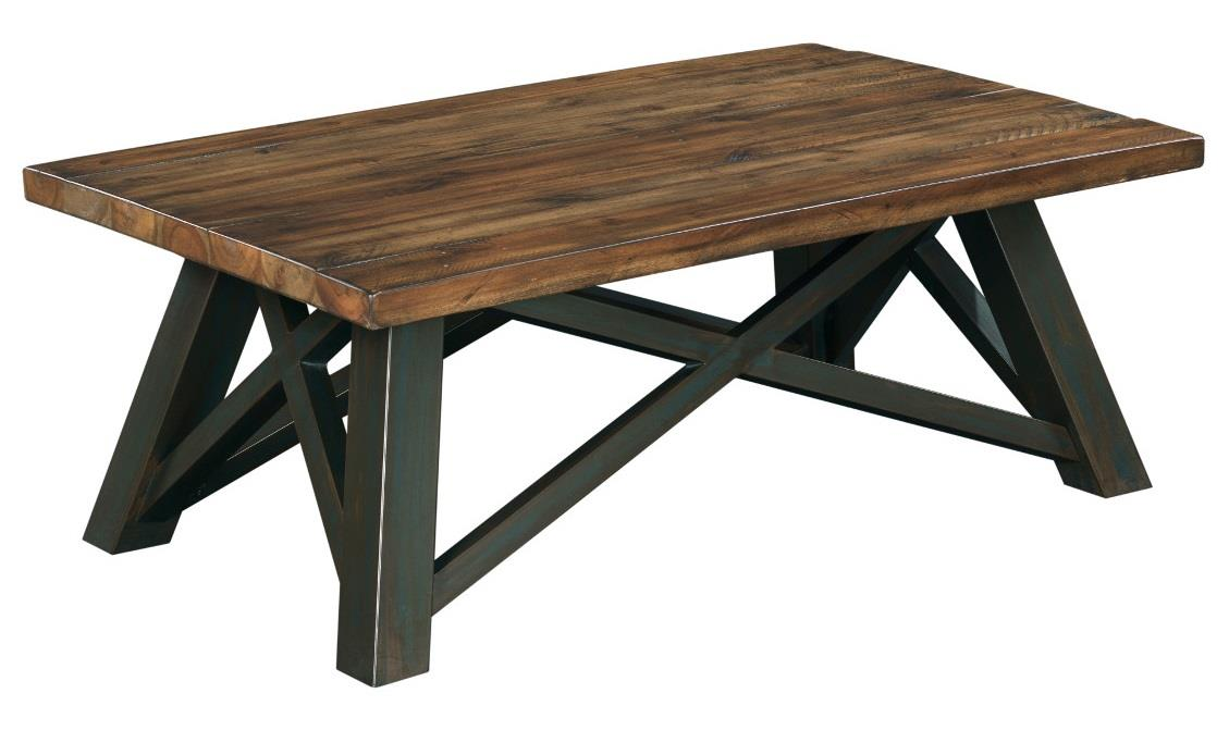Gentil Crossfit Rectangular Coffee Table With Solid Acacia Top And Rustic Metal  Base