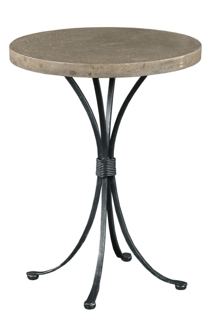 Round Chairside Table Transitional Round Chairside Table With Concrete Top By Kincaid
