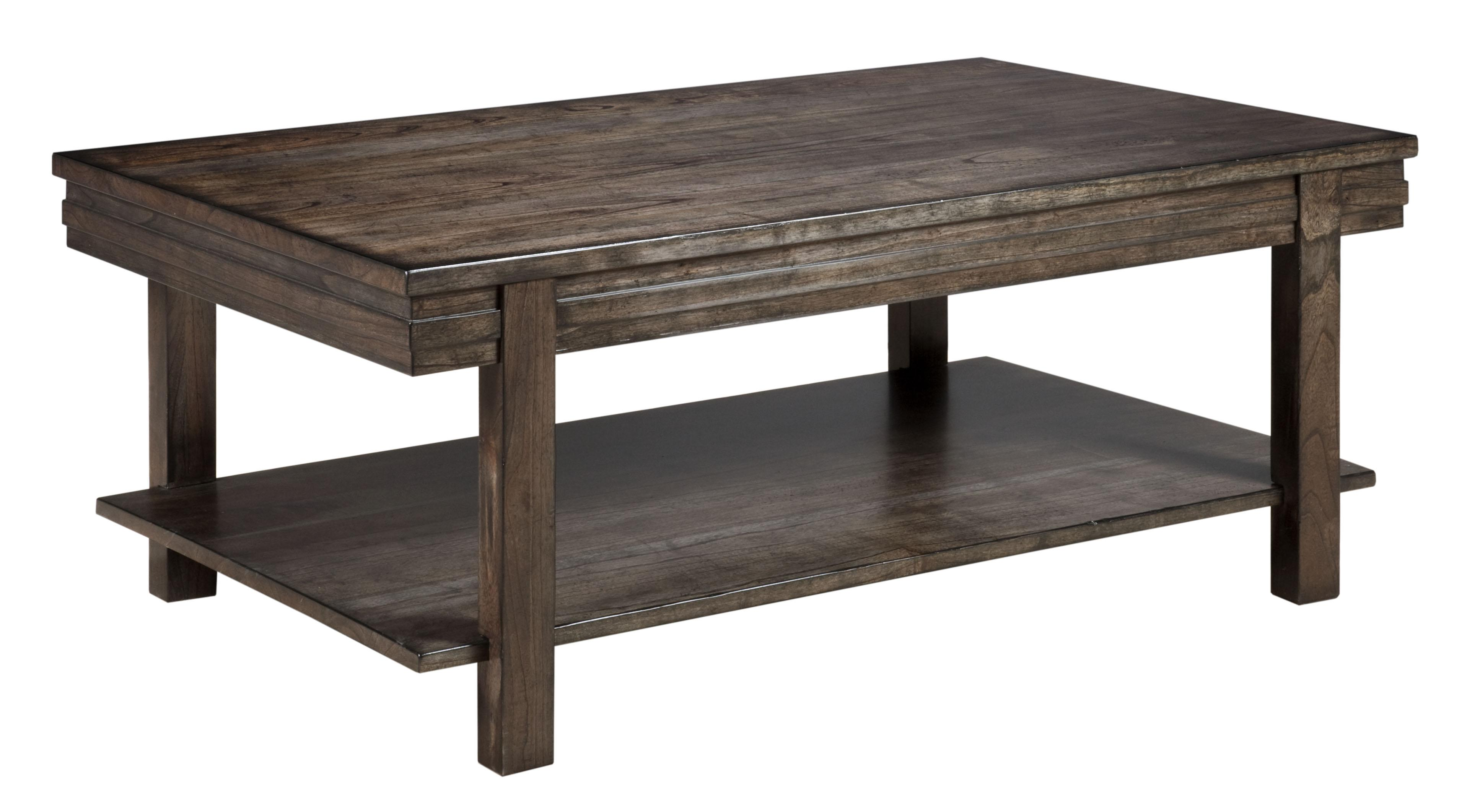 Contemporary Cantilever Cocktail Table with Grooved Mouldings and