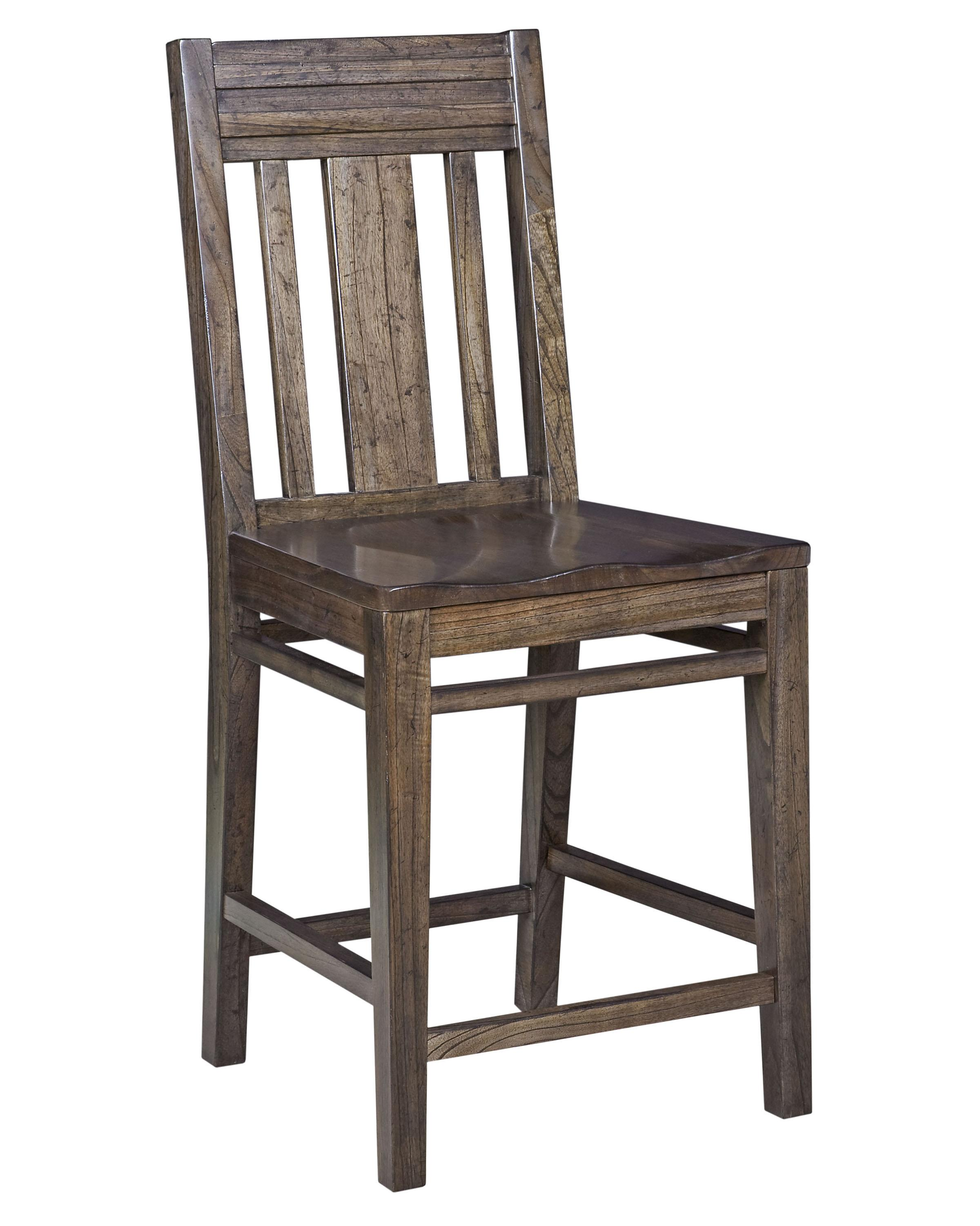 Contemporary solid wood slat back bar stool by kincaid