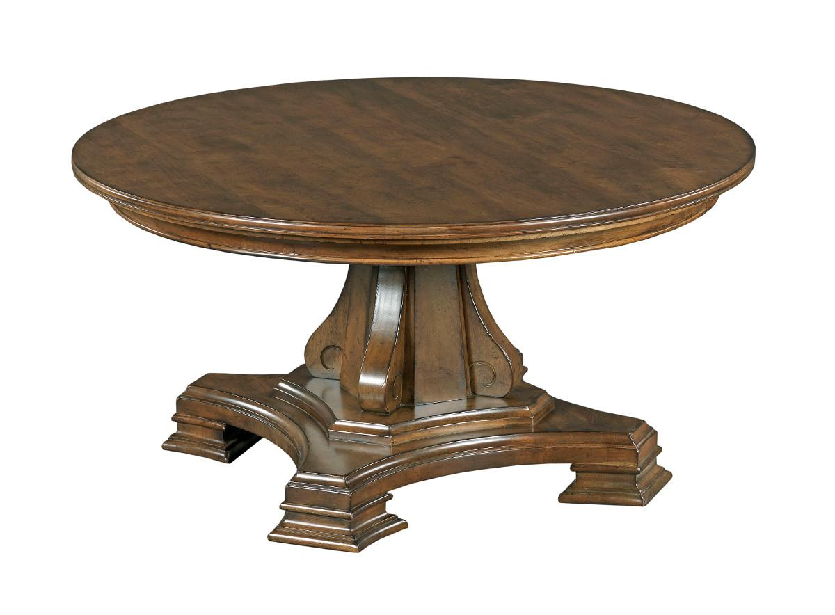 Round Solid Wood Cocktail Table With Tuscan Inspired Carved Pedestal Base By Kincaid Furniture