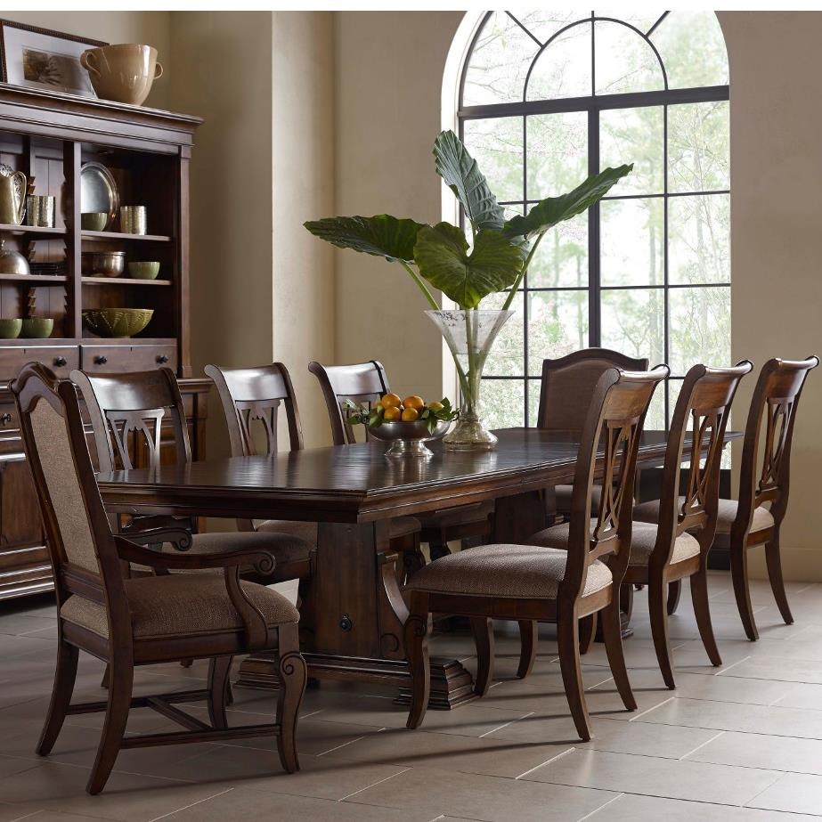 Nine Piece Trestle Table, Harp Back Chairs, And Upholstered Host Chairs Set