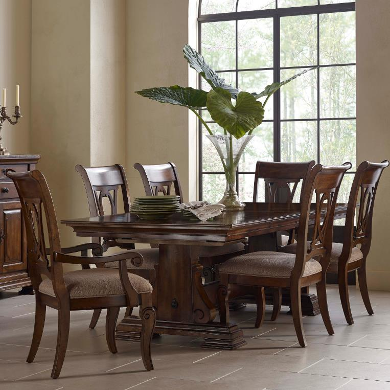 Attrayant By Kincaid Furniture. Seven Piece Trestle Table And Harp Back Chair Set