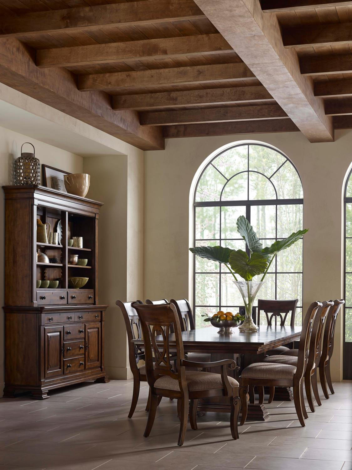 Portolone Solid Wood Trestle Table With Two Extension Leaves By. Kincaid  Dining ...