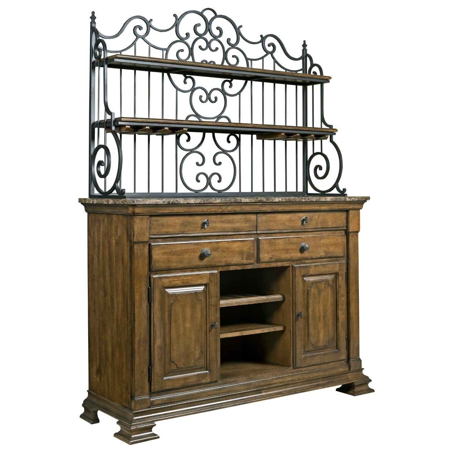 Solid wood sideboard with marble top and wrought iron