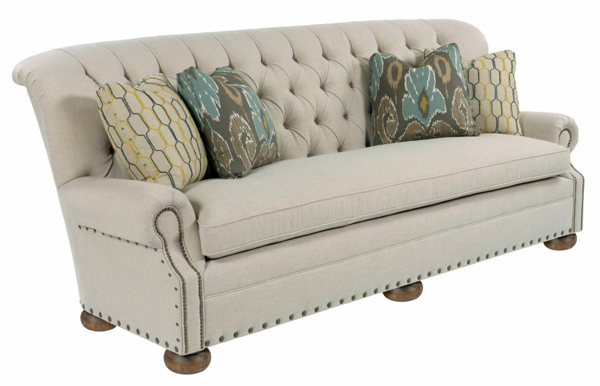 Traditional 96 Inch Button Tufted Sofa With Rolled Back And Nailheads By Kincaid Furniture