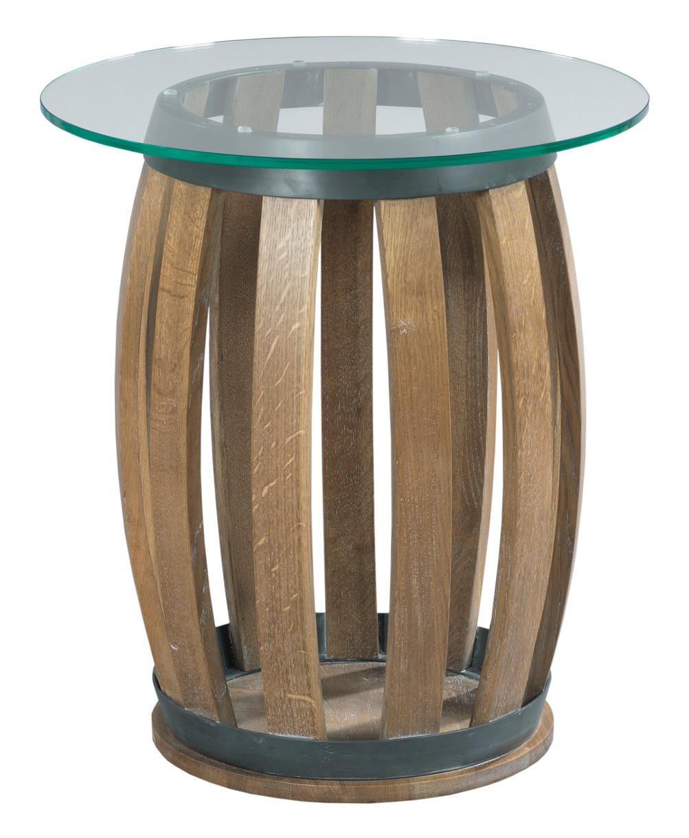 Rustic Wine Barrel Accent Table With Tempered Glass Top
