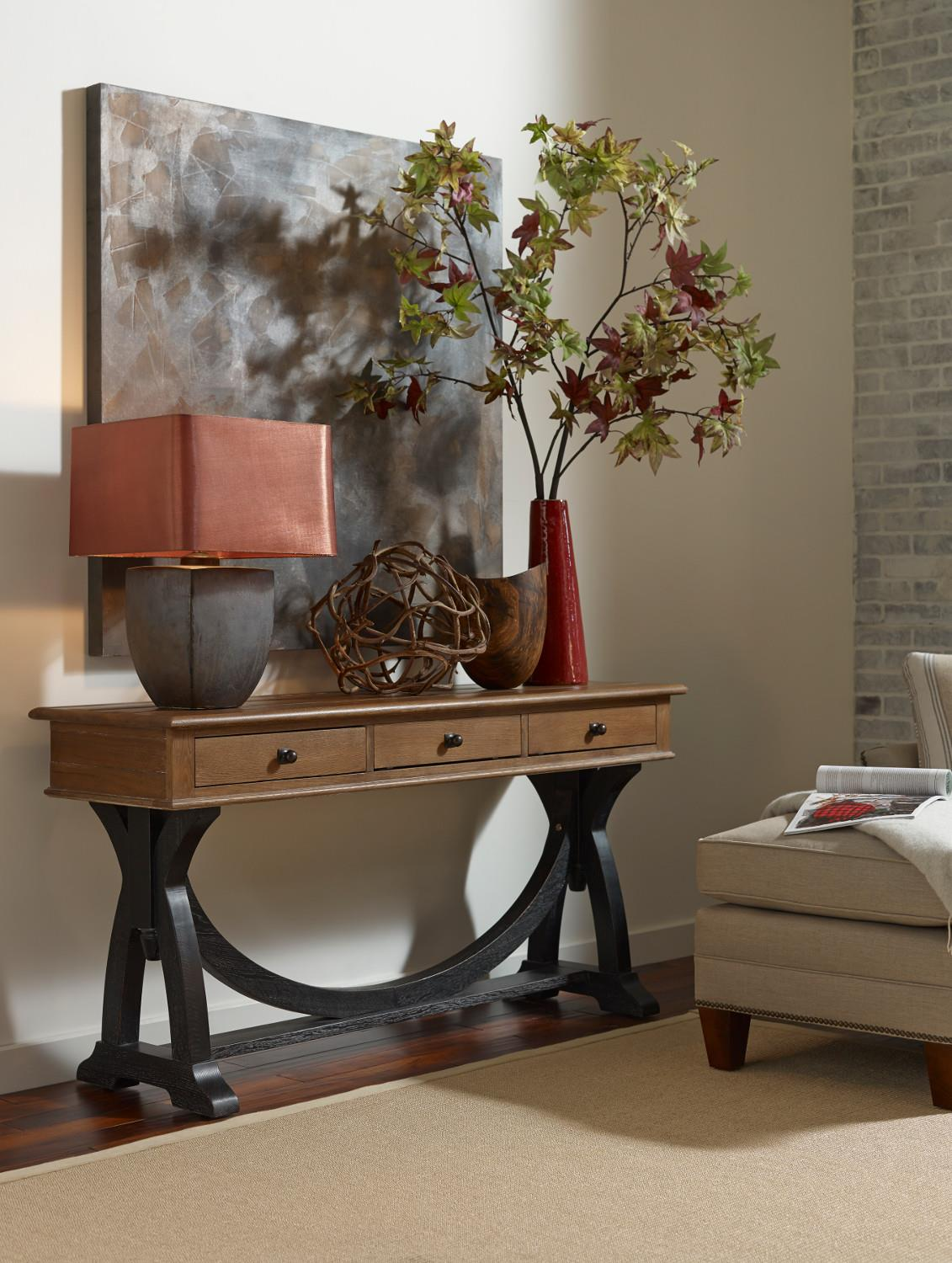 Transitional Rustic Sofa Table With Painted Trestle Base By  ~ Transitional Sofa Tables