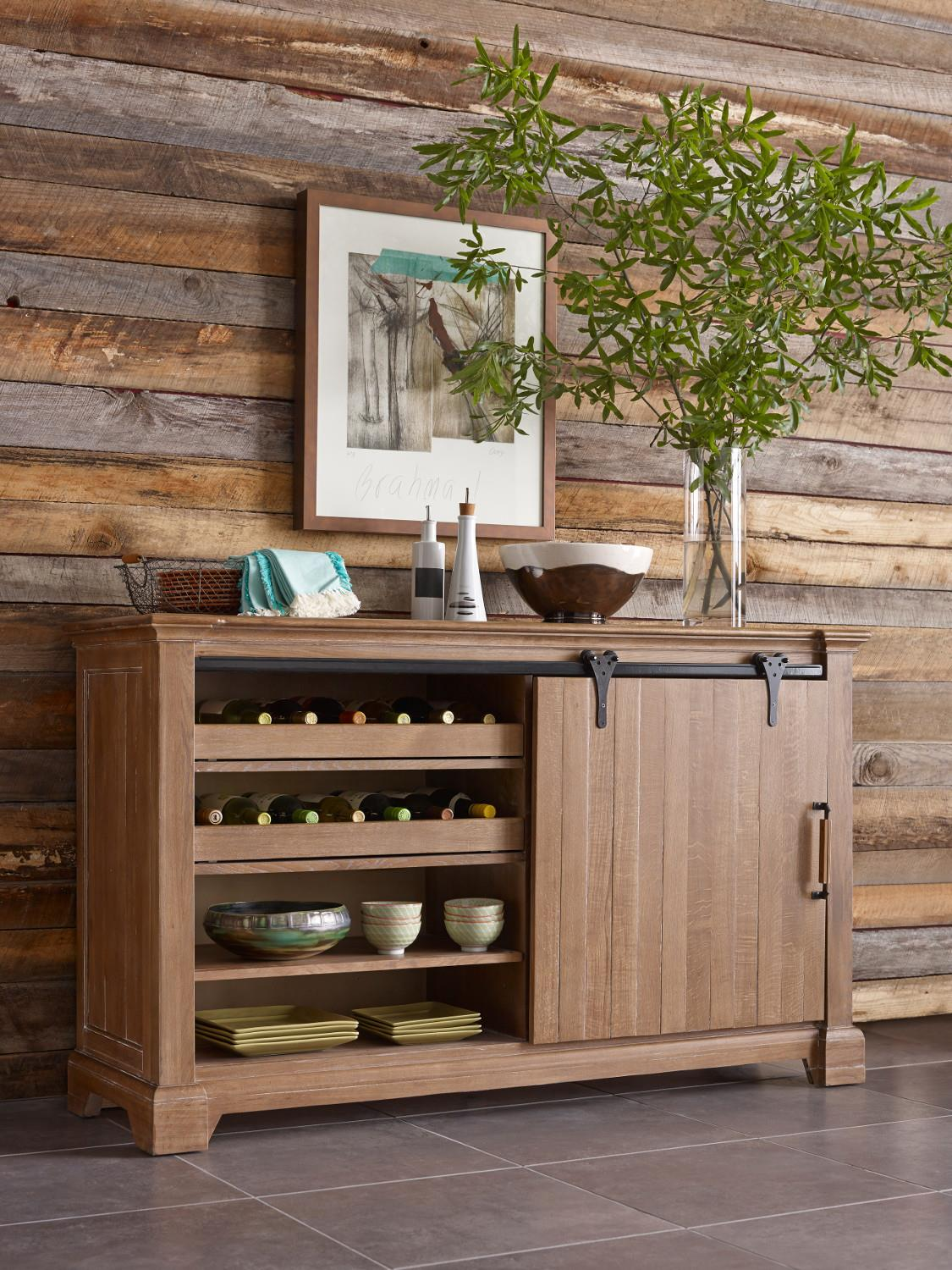 Transitional Rustic Sliding Barn Door Buffet With Wine Storage By Kincaid Furniture