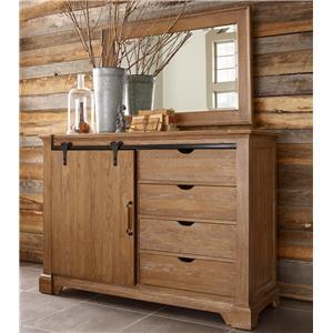 Kincaid Furniture Stone Ridge Sliding Door Media Chest and Mirror Set