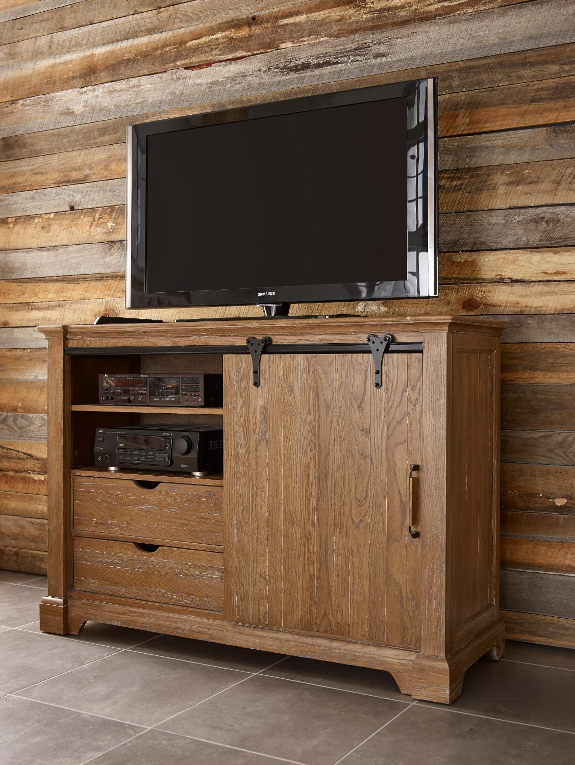 Transitional Rustic Sliding Barn Door Media Chest With