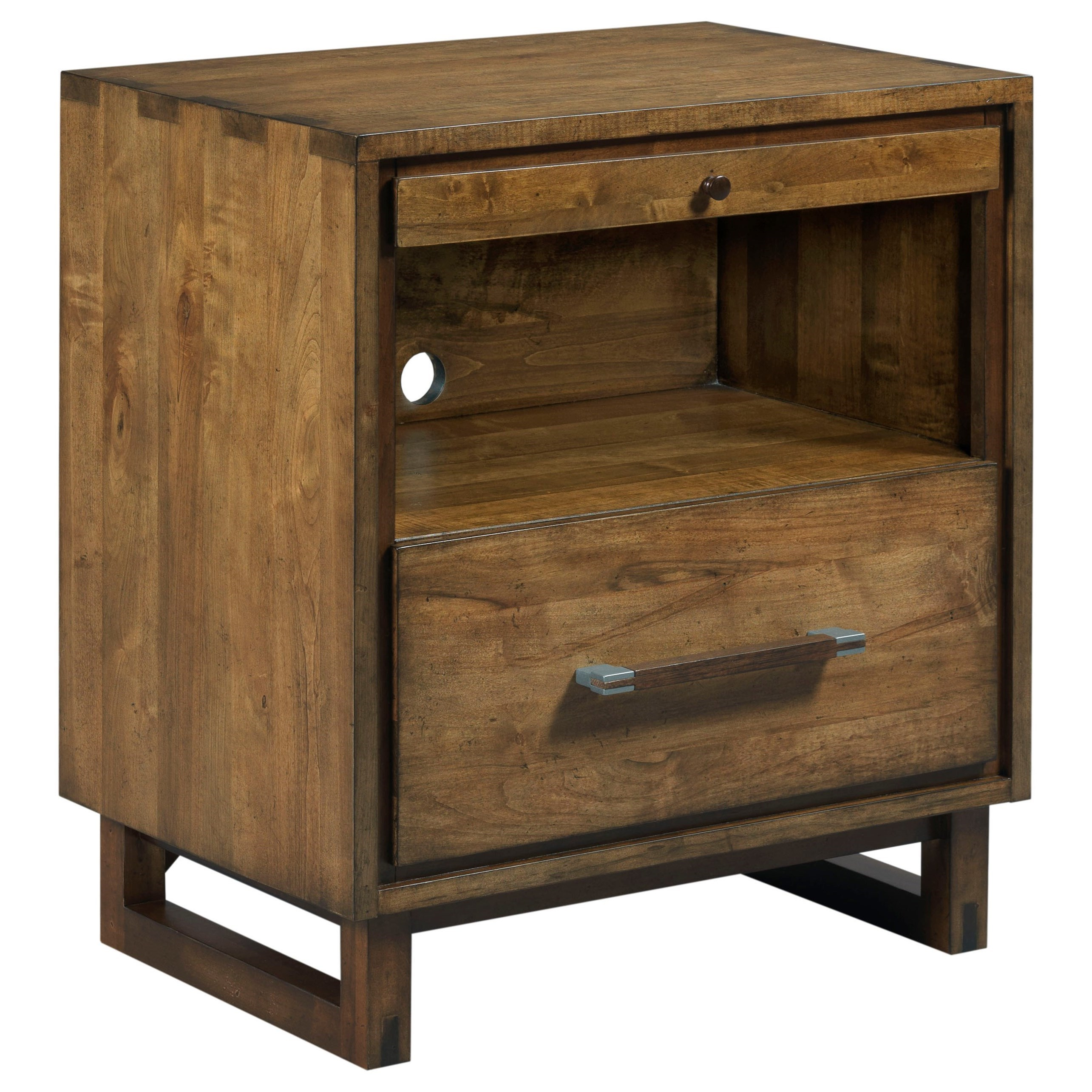 Cabinetmaker Modern Craftsman Nightstand With Pull Out Shelf And Night Light