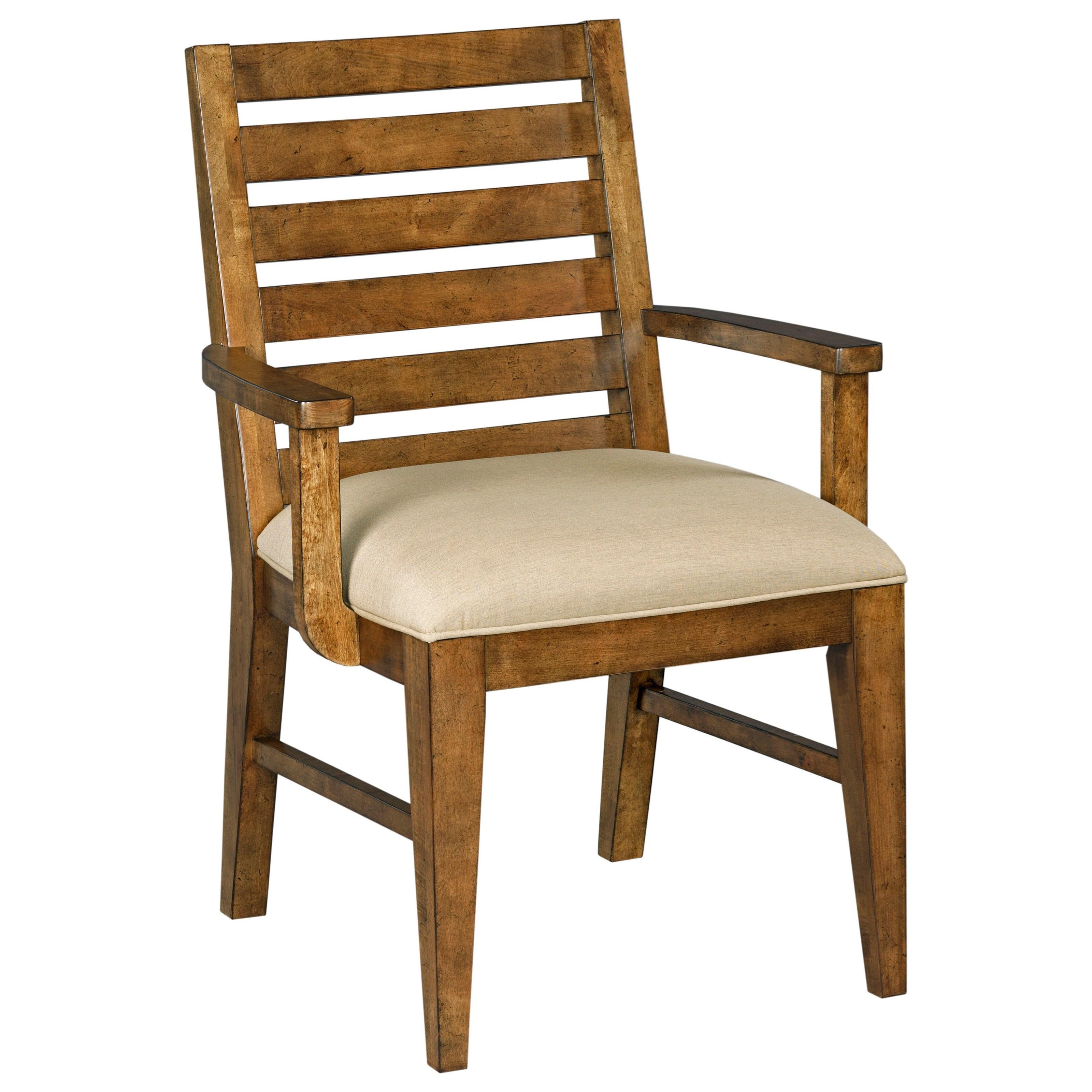 Modern Craftsman Ladderback Arm Chair With Sunbrella Fabric