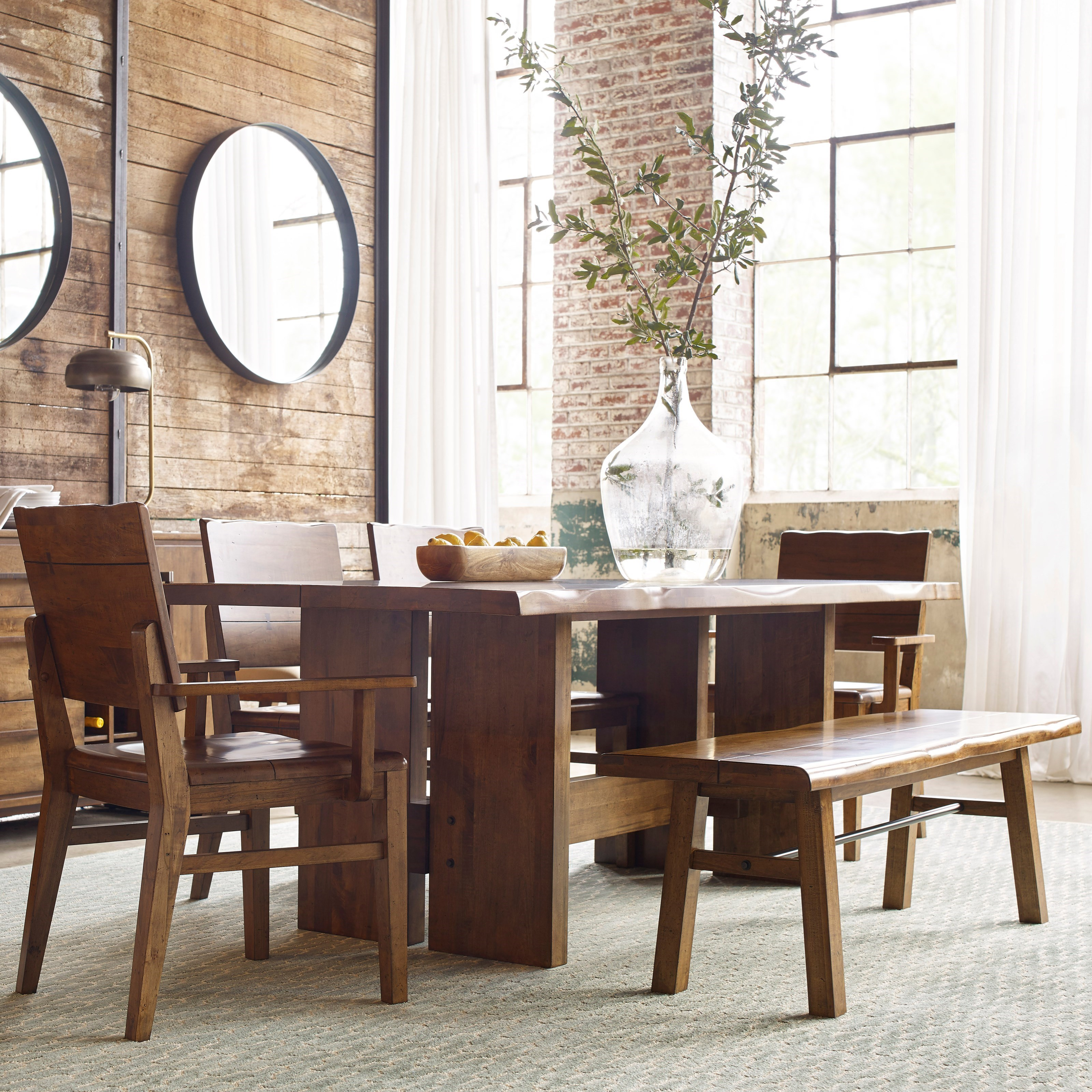 Charming Six Piece Dining Set With Cutler Table And Bench