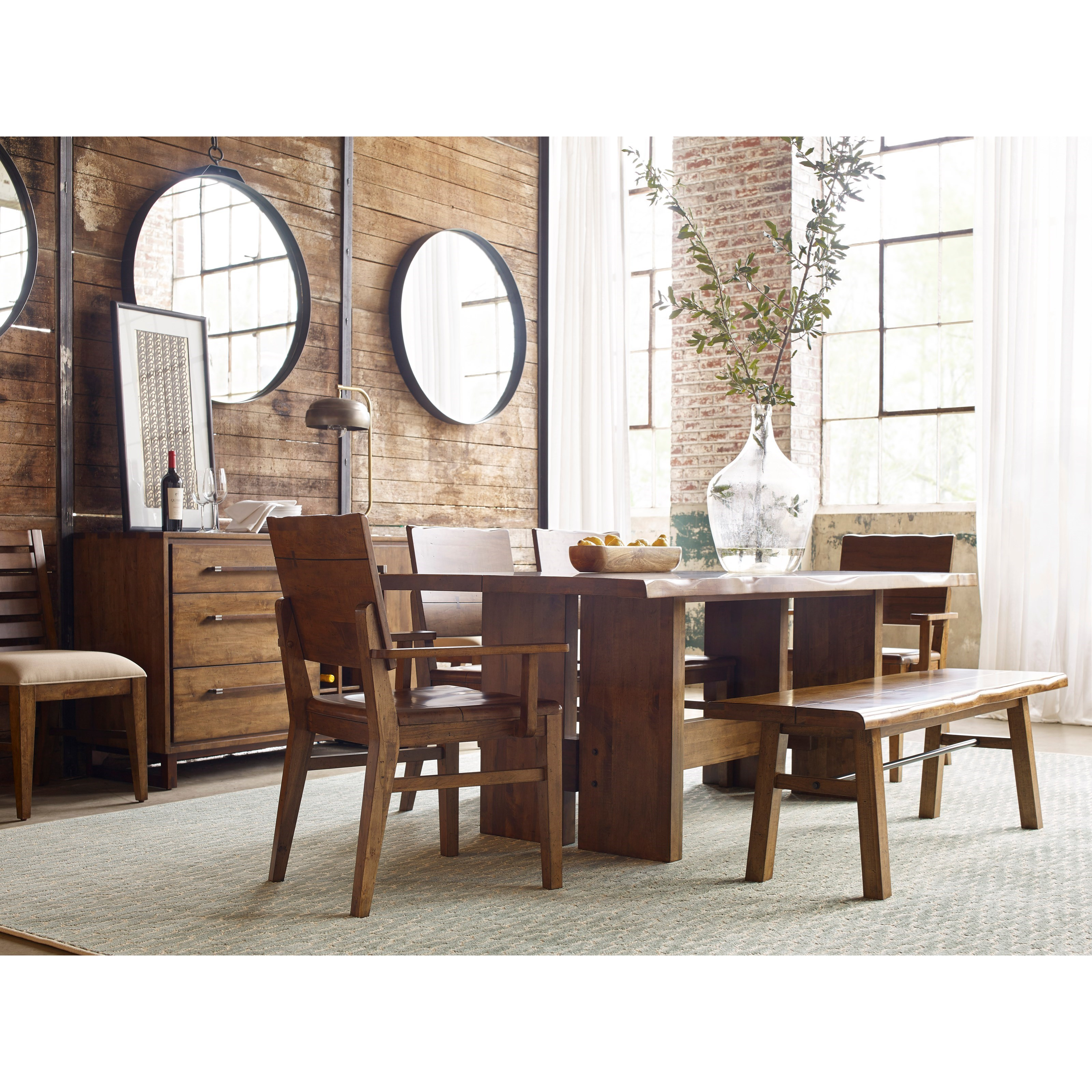 Cutler Live Edge Trestle Dining Table by Kincaid Furniture Wolf