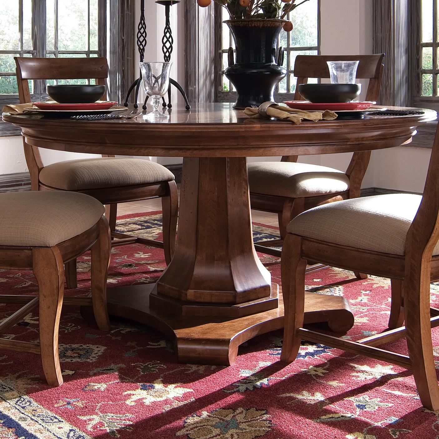 Round Dining Table By Kincaid Furniture Wolf And Gardiner - Kincaid tuscano bedroom furniture