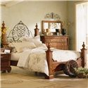 Kincaid Furniture Tuscano Queen Poster Bed with Metal Headboard Detail - Bed Shown May Not Represent Size Indicated