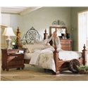 Kincaid Furniture Tuscano Queen Poster Bed with Metal Headboard Detail - Shown with Nightstand, Dresser, and Landscape Mirror - Bed Shown May Not Represent Size Indicated