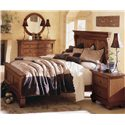 Kincaid Furniture Tuscano 2 Drawer Night Stand With Wood Top - Shown with Dresser, Round Mirror, and Panel Bed