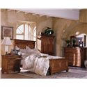 Kincaid Furniture Tuscano Bedside Chest with Marble Top - Shown with Panel Bed, Armoire, Dresser, and Landscape Mirror