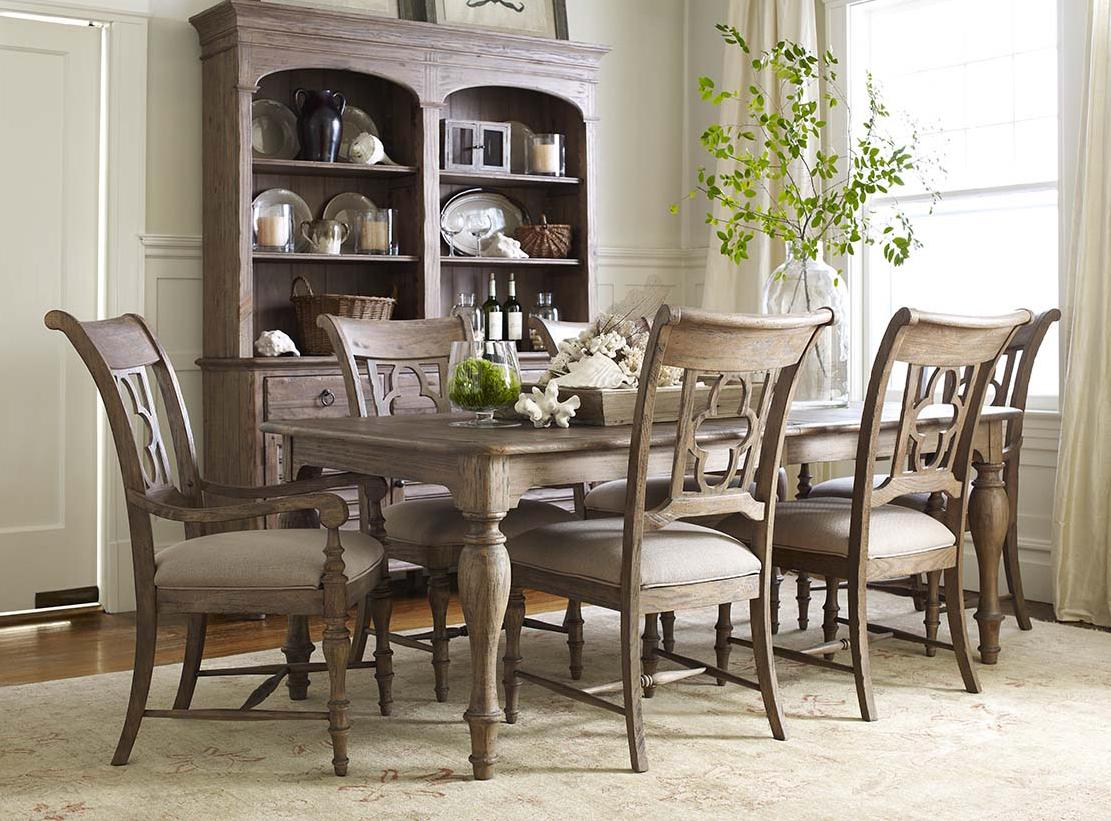 7 Piece Dining Set with Canterbury Table and Quatrefoil Back Chairs