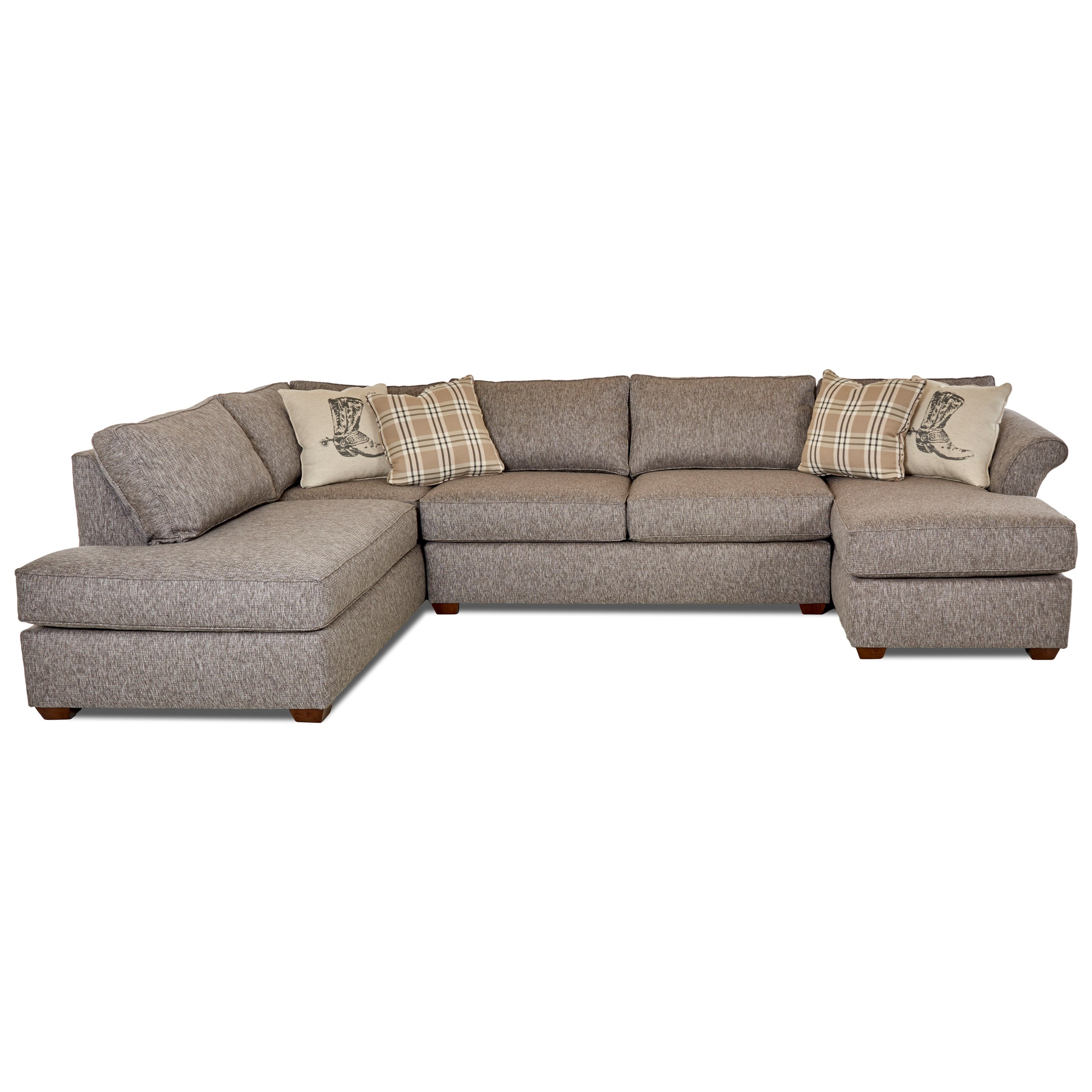 Three Piece Sectional Sofa with Flared Arms and LAF Sofa Chaise