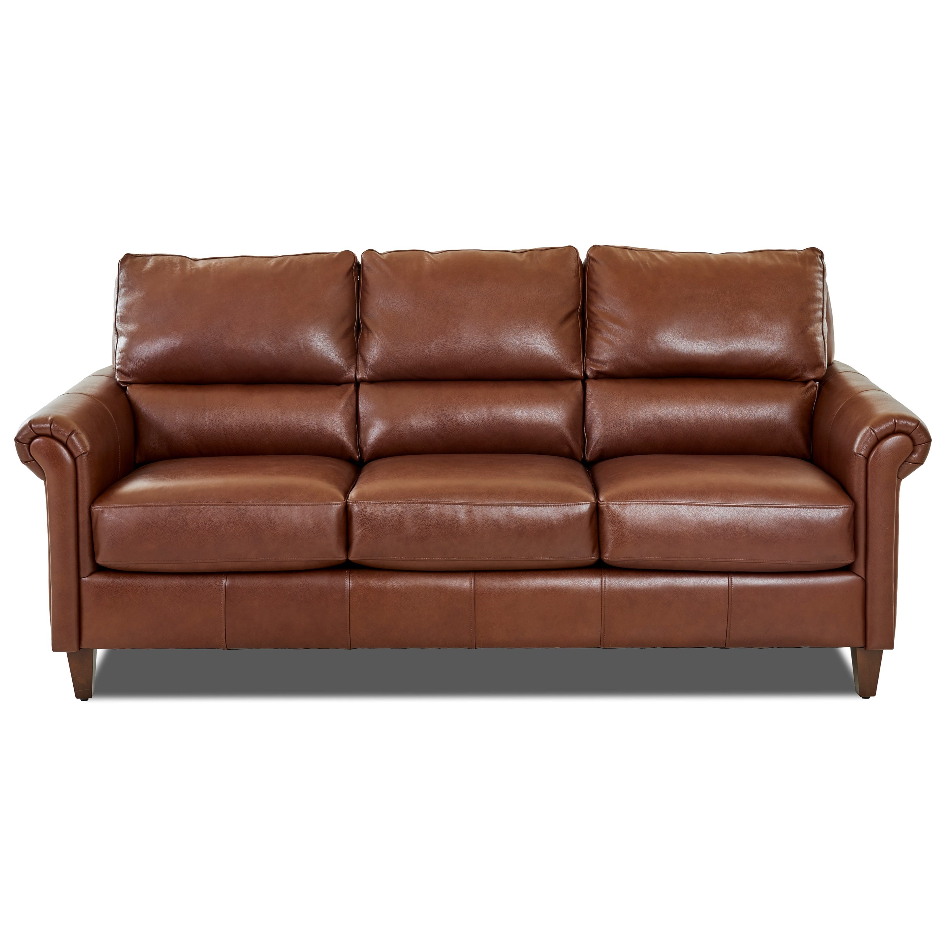 Transitional Leather Sofa with Pub Back