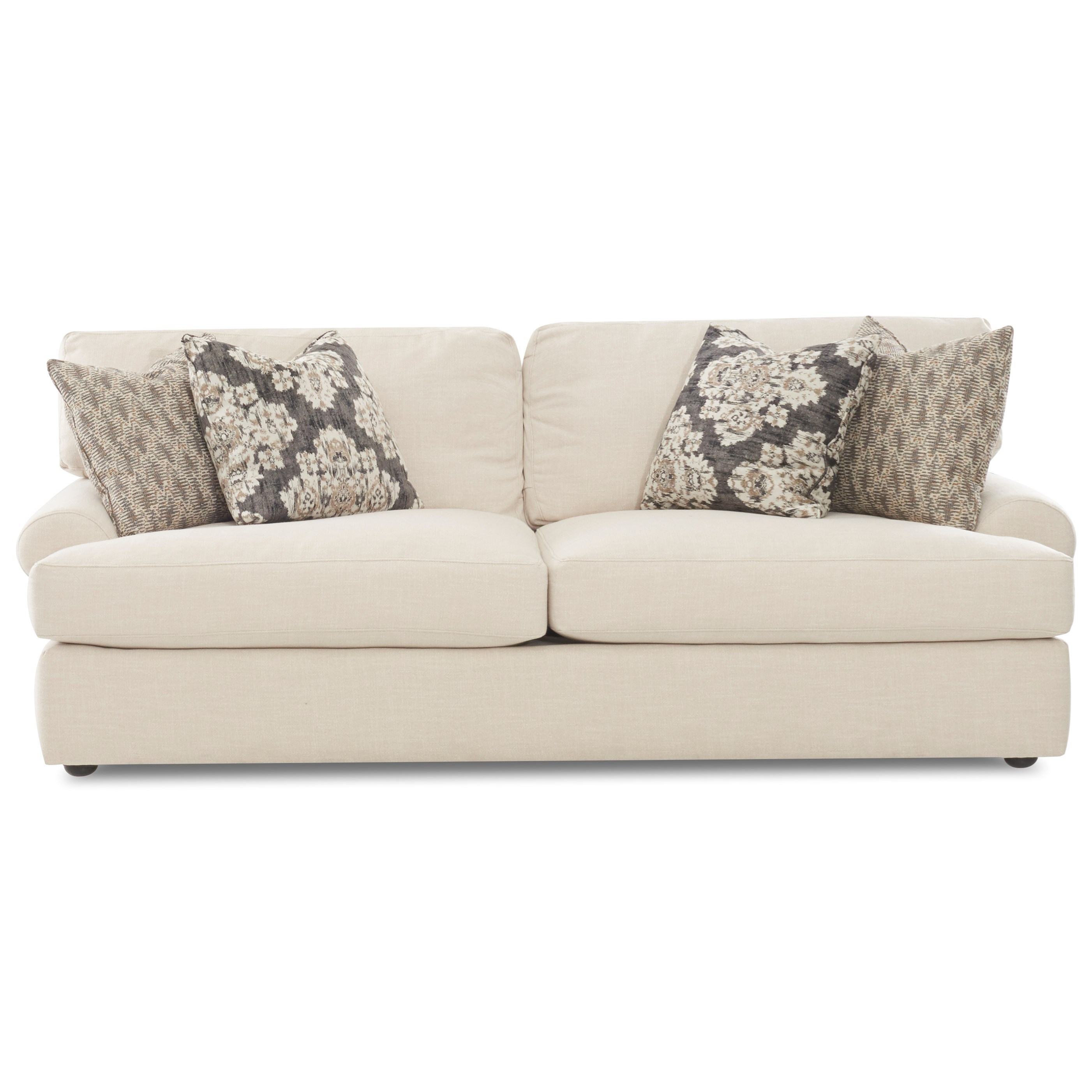 Casual Sofa with Rolled Arms and 4 Throw Pillows